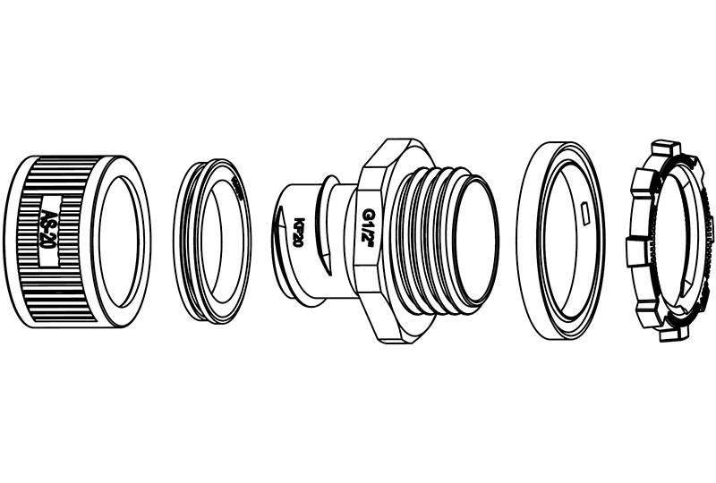 Unión de manguera flexible metálica de protección eléctrica  Aplicación impermeable - EZ09 Series (EU)
